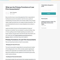 What are the Primary Functions of Law Firm Accountants? - Balms Abogados