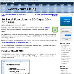 30 Excel Functions in 30 Days: 20 – ADDRESS