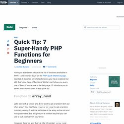 Quick Tip: 7 Super-Handy PHP Functions for Beginners