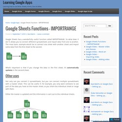 Google Sheets Functions – IMPORTRANGE