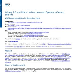 XQuery 1.0 and XPath 2.0 Functions and Operators (Second Edition)