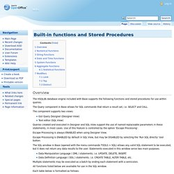 Built-in functions and Stored Procedures