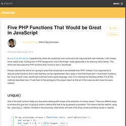 Five PHP Functions That Would be Great in JavaScript