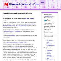 FRBR and Fundamental Cataloguing Rules