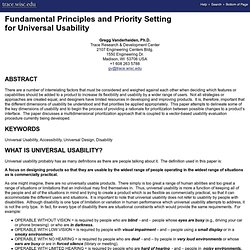 Fundamental Principles and Priority Setting for Universal Usability