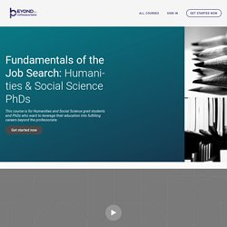 Fundamentals of the Job Search for Non-Academic Careers