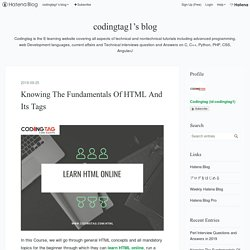 Knowing The Fundamentals Of HTML And Its Tags - codingtag1's blog