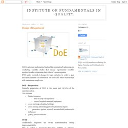 Institute of Fundamentals in Quality: Design of Experiment