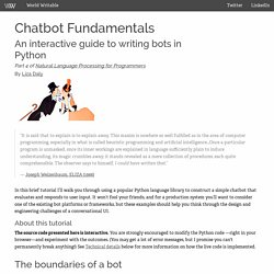 Chatbot Fundamentals: An interactive guide to writing bots in Python