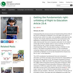 Getting the Fundamentals right- unfolding of Right to Education Article 25-A
