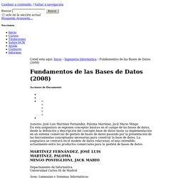 Fundamentos de las Bases de Datos (2008)