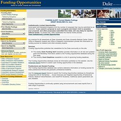 Funding Opportunities - Duke University
