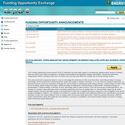 ARPA-E: Funding Opportunity Exchange