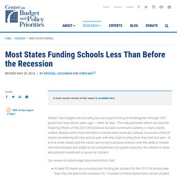 Most States Funding Schools Less Than Before the Recession