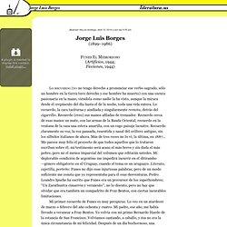 Funes el memorioso, Jorge Luis Borges (1899–1986)