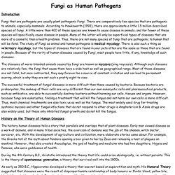 Fungi as Human Pathogens