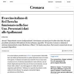 Il vaccino italiano di ReiThera ha funzionato nella fase Uno. Presentati i dati allo Spallanzani
