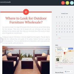 Where to Look for Outdoor Furniture Wholesale?