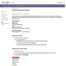 Fusion Tables Workshop - Google Fusion Tables
