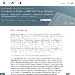 """Climat, réseaux sociaux, e-cigarette… : """"Menace immédiate"""" pour la santé de tous les enfants / A WHO–UNICEF–Lancet Commission, janvier 2020"""