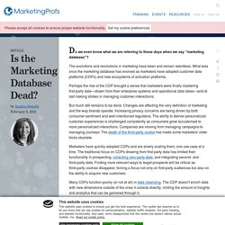 The Future of Database Marketing - Is It Dead?