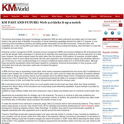 KM PAST AND FUTURE: Web 2.0 kicks it up a notch