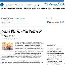 Future Planet – The Future of Services