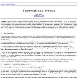 FUTURE PSYCHOLOGICAL EVOLUTION