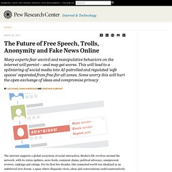 The Future of Free Speech, Trolls, Anonymity and Fake News Online