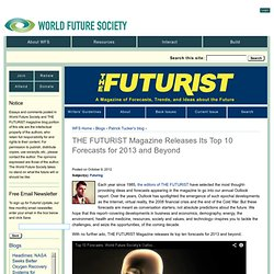 THE FUTURIST Magazine Releases Its Top 10 Forecasts for 2013 and Beyond