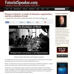 The personal blog of Futurist Thomas Frey » Blog Archive » Business Colonies: A study of structure, organization, and the evolution of work