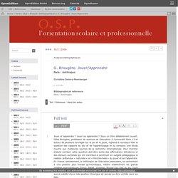 Jouer/Apprendre. Gilles Brougère (résumé)