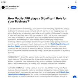 How Mobile APP plays a Significant Role for your Business?