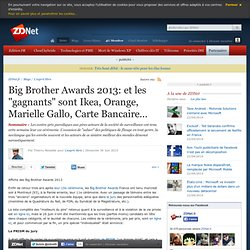 "Big Brother Awards 2013: et les ""gagnants"" sont Ikea, Orange, Marielle Gallo, Carte Bancaire…"