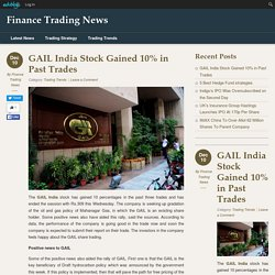 GAIL India Stock Gained 10% in Past Trades