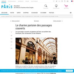 Galeries et passage couverts Paris - Office du Tourisme Paris