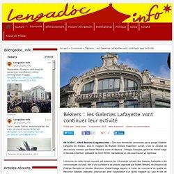 Béziers: les Galeries Lafayette vont continuer leur activité