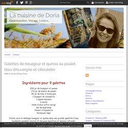 Galettes de boulgour et quinoa au poulet, bleu d'Auvergne et ciboulette