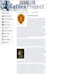 The Galileo Project | Galileo | Patrons | Medici Family