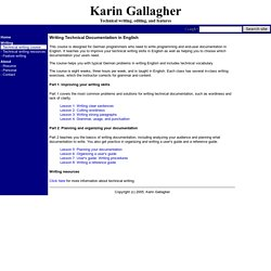 Karin Gallagher - Writing technical documentation