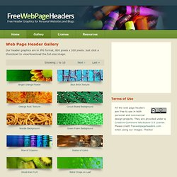 Free Web Page Headers - Main Index