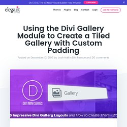 Using the Divi Gallery Module to Create a Tiled Gallery with Custom Padding