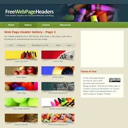 Gallery Page 3 - Free Web Page Headers