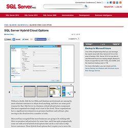 Photo Gallery: SQL Server Hybrid Cloud Options