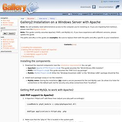 Installation on a Windows Server with Apache