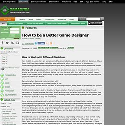 How to be a Better Game Designer