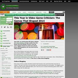 This Year in Video Game Criticism: The Games That Shaped 2014