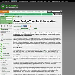 Game Design Tools for Collaboration