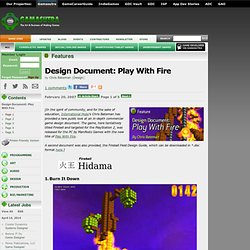 Features - Design Document: Play With Fire