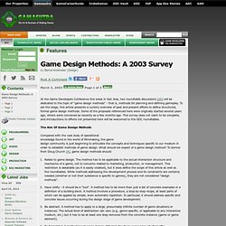 Features - Game Design Methods: A 2003 Survey